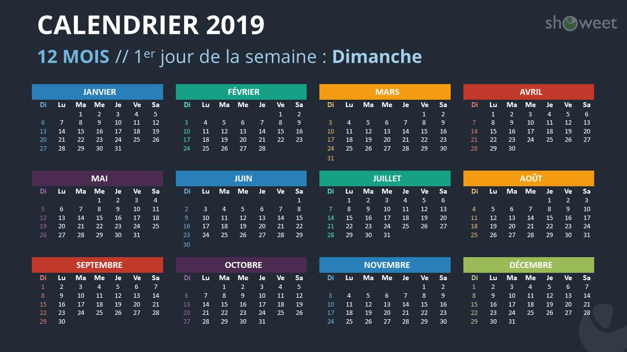 calendrier 2019 pour powerpoint  fran u00e7ais