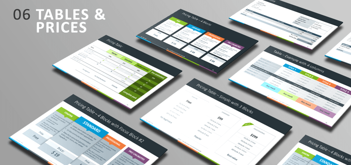 Free PowerPoint Template - Tables and Prices