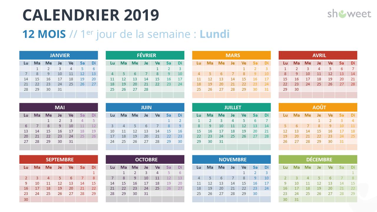 Calendrier Francais 2019.Calendrier 2019 Pour Powerpoint Francais