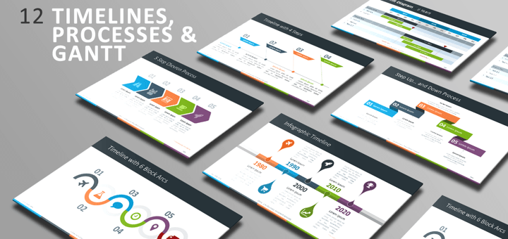 Free PowerPoint Template - Timelines, Processes and Gantt
