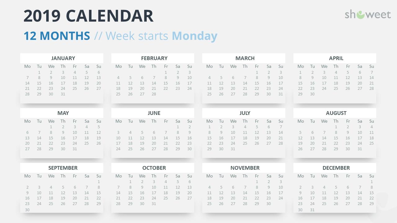Calendario 2019 Week Number.2019 Calendar Powerpoint Templates