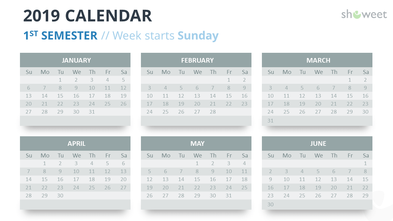 2019 Calendar PowerPoint Templates