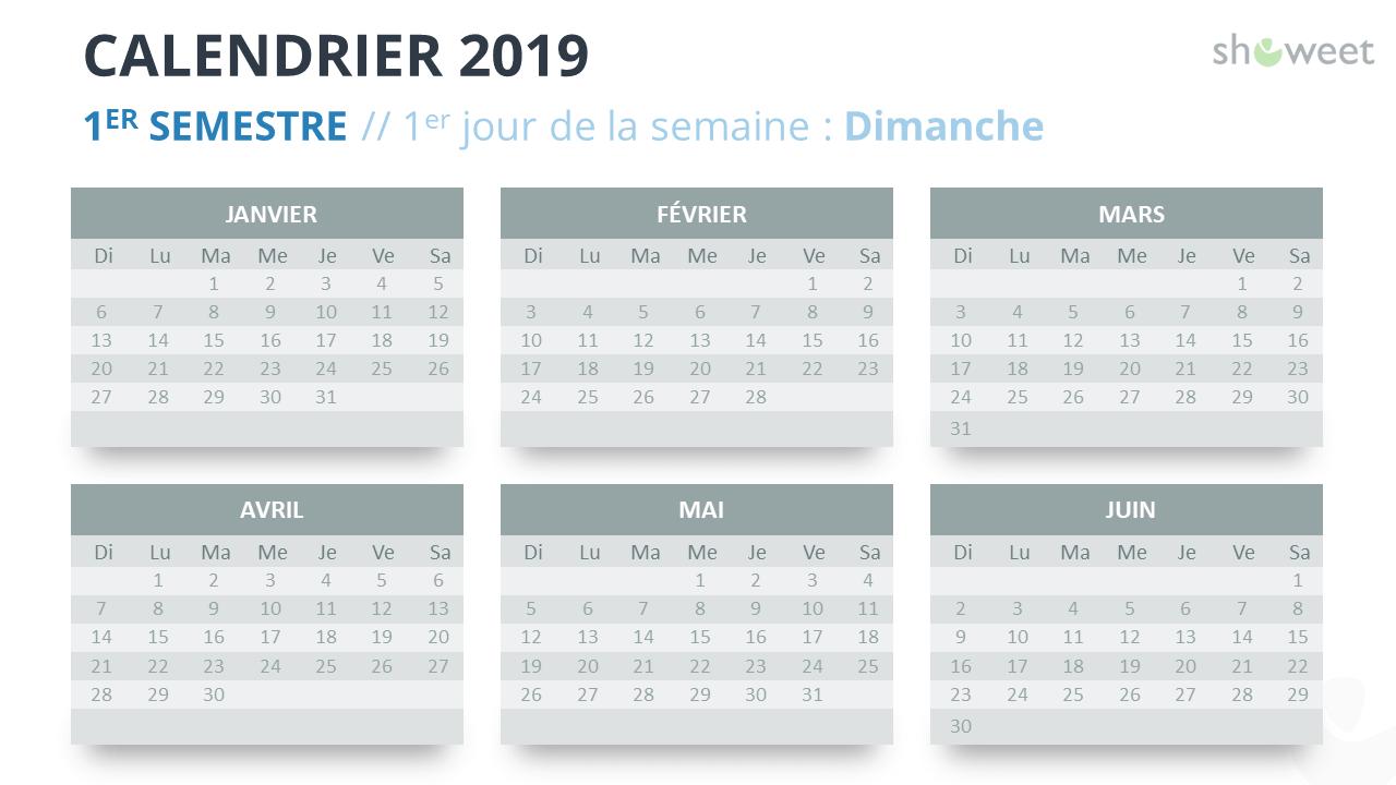 Calendrier 2019 Semestre 1.Calendrier 2019 Pour Powerpoint Francais