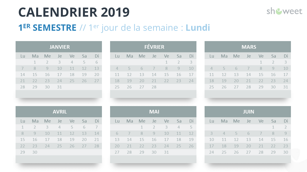 Calendrier 2019 2eme Semestre.Calendrier 2019 Pour Powerpoint Francais