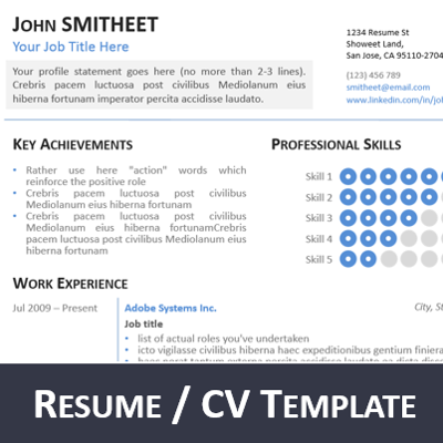 1page resume cv powerpoint