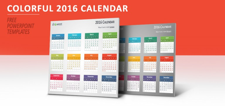 Free colorful 2016 calendar for PowerPoint