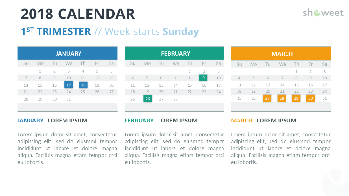 2018 calendar powerpoint templates free calendar 2018 powerpoint template 1st first week starts sunday toneelgroepblik Gallery