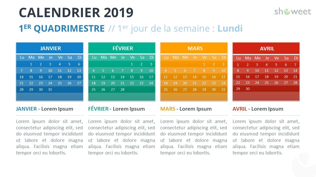 Calendrier 2019 Png.Calendrier 2019 Pour Powerpoint Francais