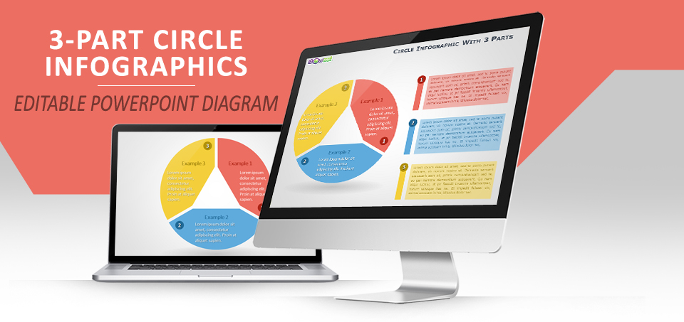 3-parts circle infographics for powerpoint