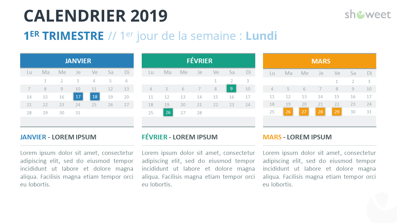 Template Calendrier 2019.Calendrier 2019 Pour Powerpoint Francais