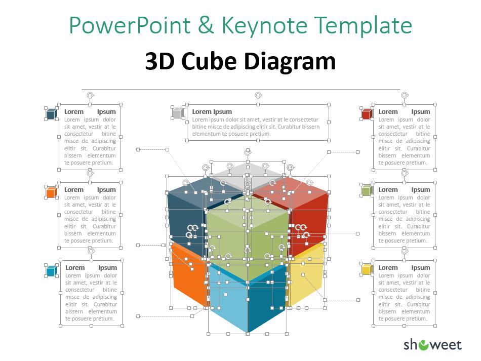 Diagrama de un cubo 3D y textos totalmente editables