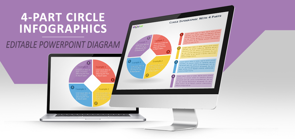 4-parts circle infographics for powerpoint