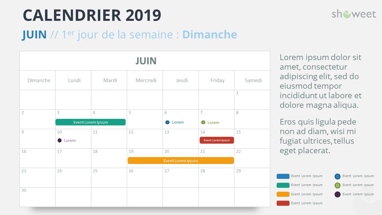 Calendrier Mensuel Juin 2019.Calendrier 2019 Pour Powerpoint Francais