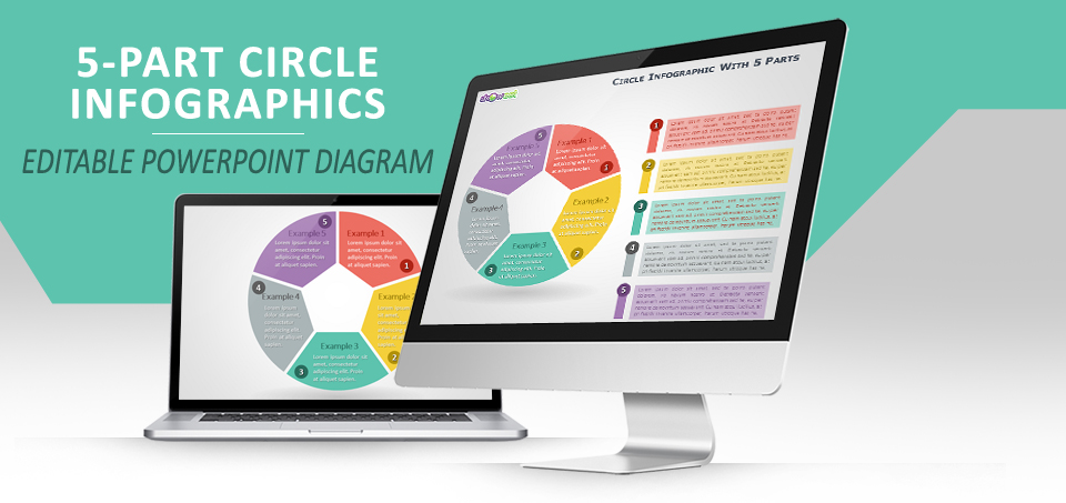 5-parts circle infographics for powerpoint