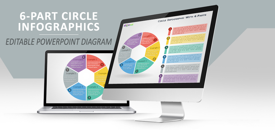 6-parts circle infographics for powerpoint
