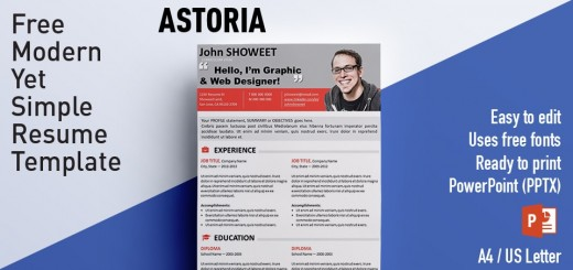 astoria clean powerpoint resume curriculum vitae template