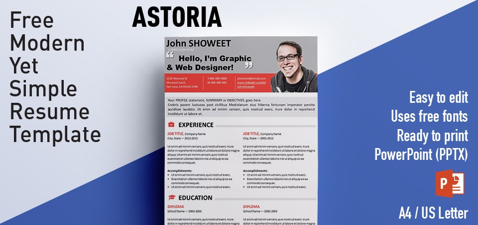 Astoria Clean PowerPoint Resume / CV Template