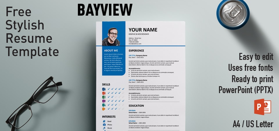 bayview clean powerpoint resume template, Modern powerpoint