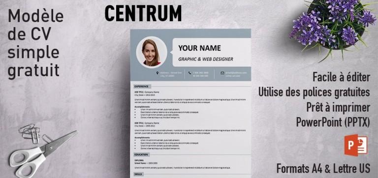 Centrum Modèle Simple de CV PowerPoint