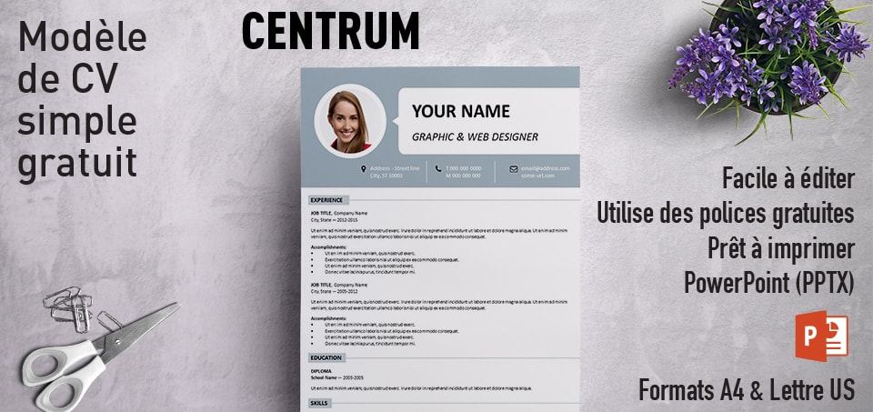 centrum mod u00e8le simple de cv powerpoint