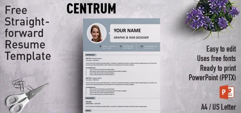 Centrum Simple Free PowerPoint Resume