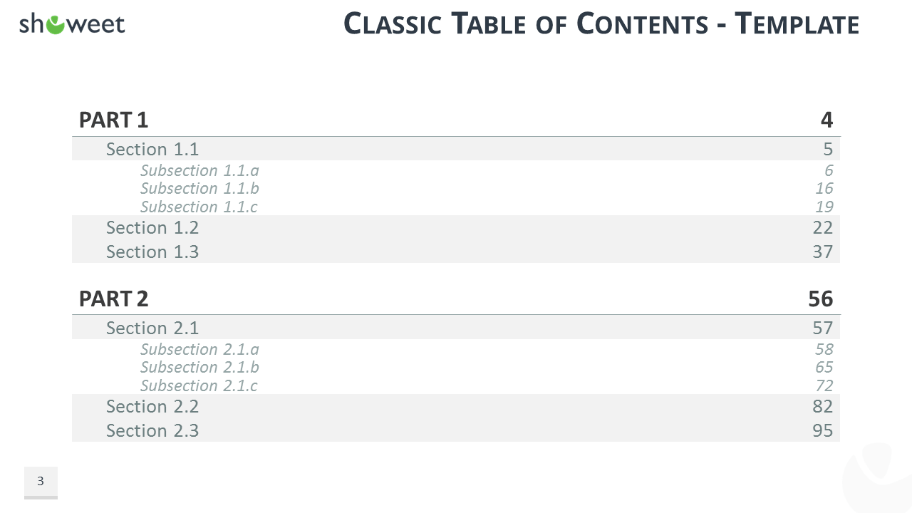 free classic table of contents agenda template for powerpoint and keynote