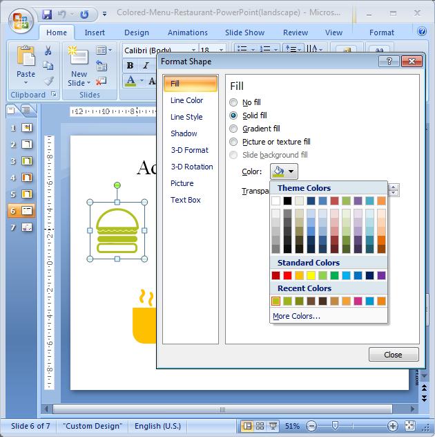 Plantilla Menú de Restaurante PowerPoint - captura de pantalla 3