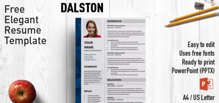 Dalston elegant powerpoint resume template yelopaper Image collections