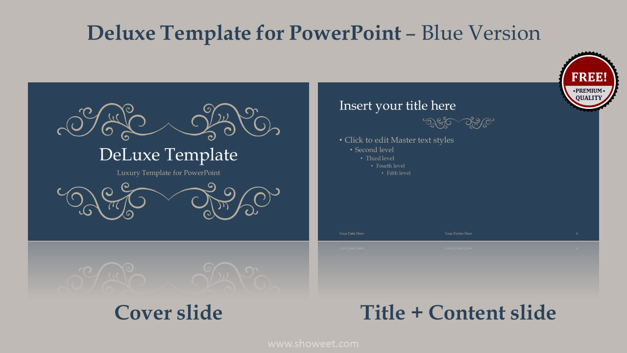 DeLuxe Free Luxury PowerPoint Template - Blue layout