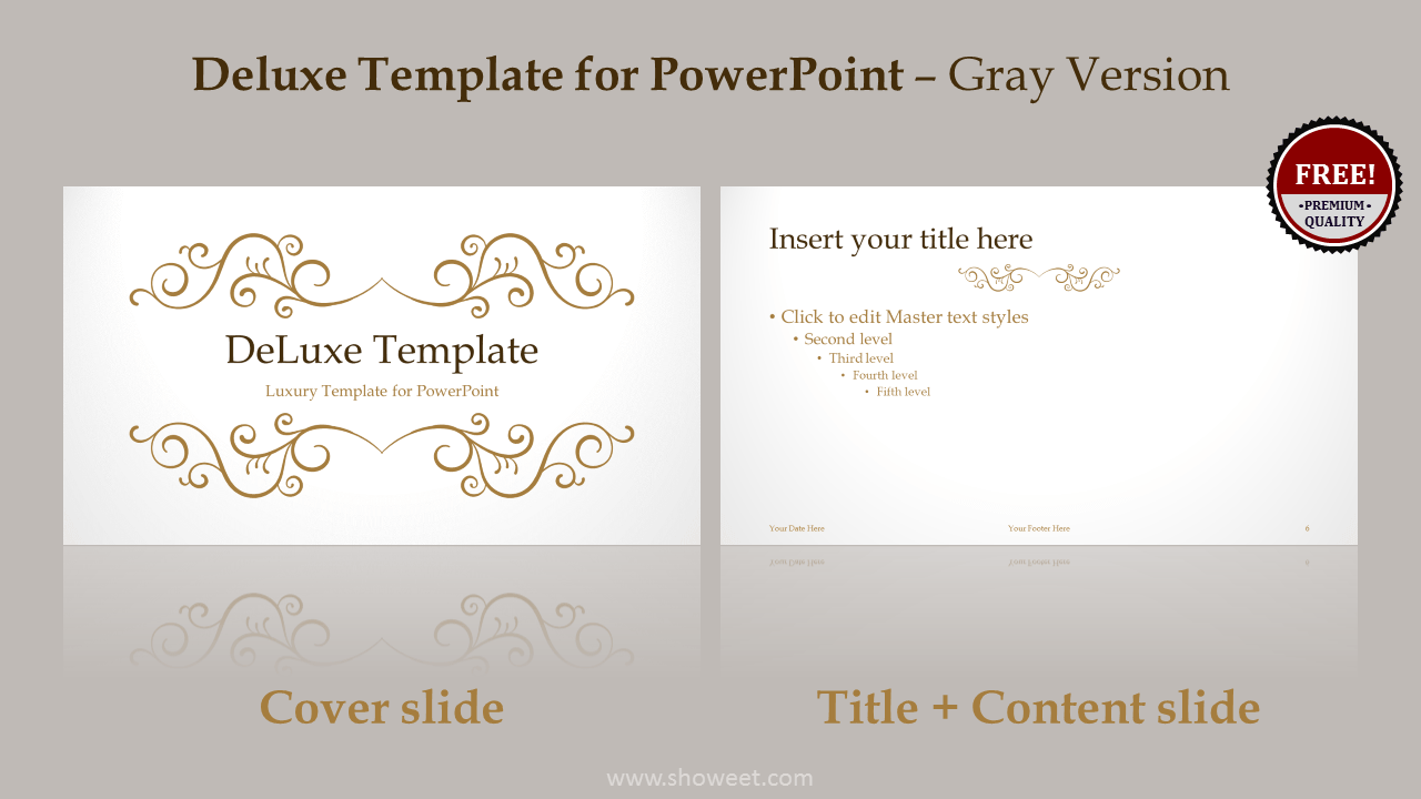DeLuxe Free Luxury PowerPoint Template - Gray layout