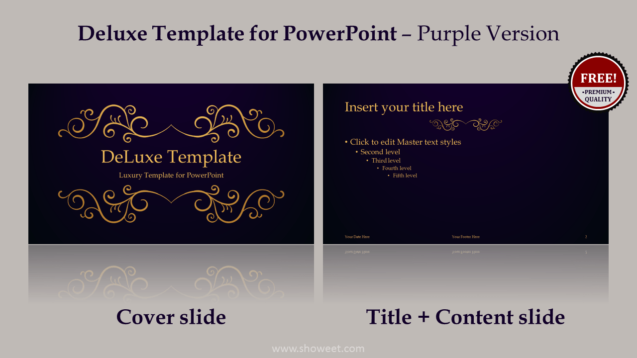 Deluxe luxury powerpoint template deluxe free luxury powerpoint template purple layout toneelgroepblik Image collections