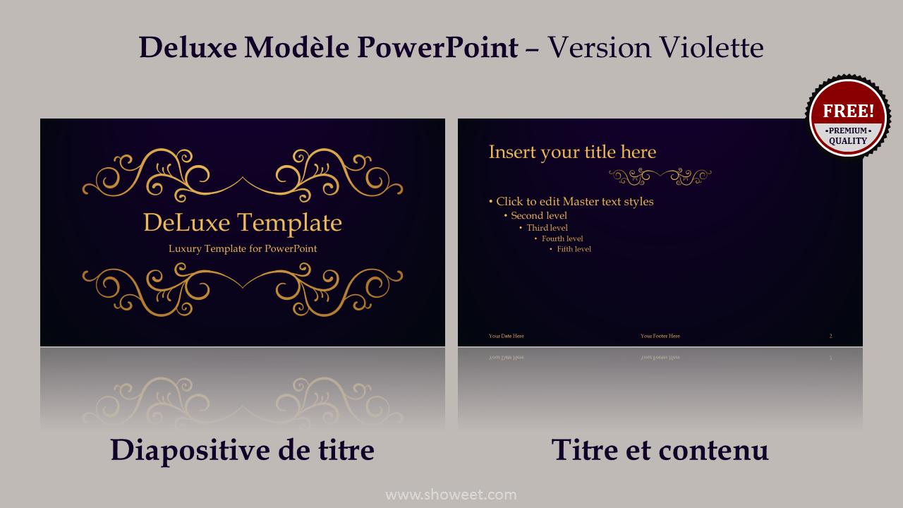 DeLuxe - Modèle Gratuit Prestige PowerPoint - Violet