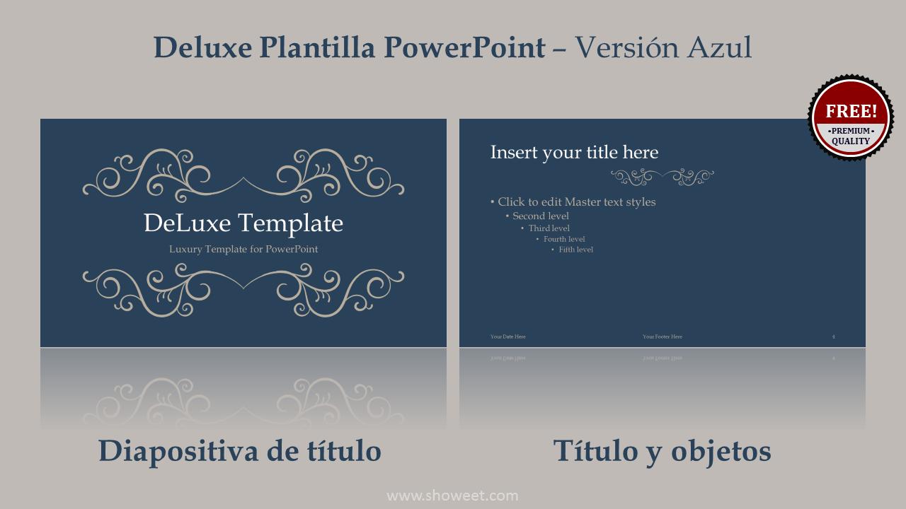 DeLuxe Plantilla Gratis y de Prestigio PowerPoint de Color Azul