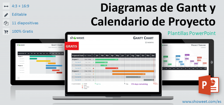 Modelos gratuitos de diagramas de Gantt y calendarios de proyecto para PowerPoint