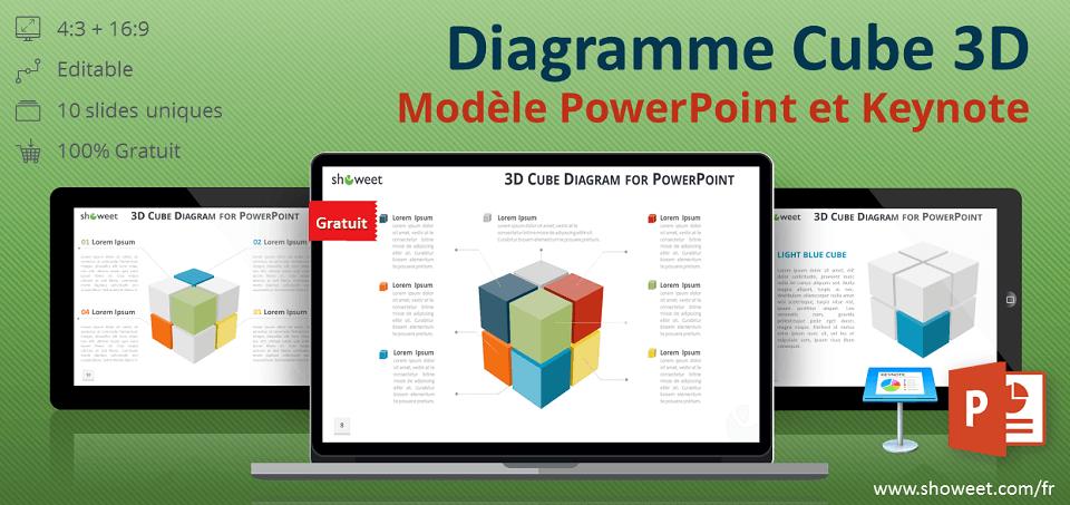 Diagramme gratuit de cube en 3D pour PowerPoint et Keynote