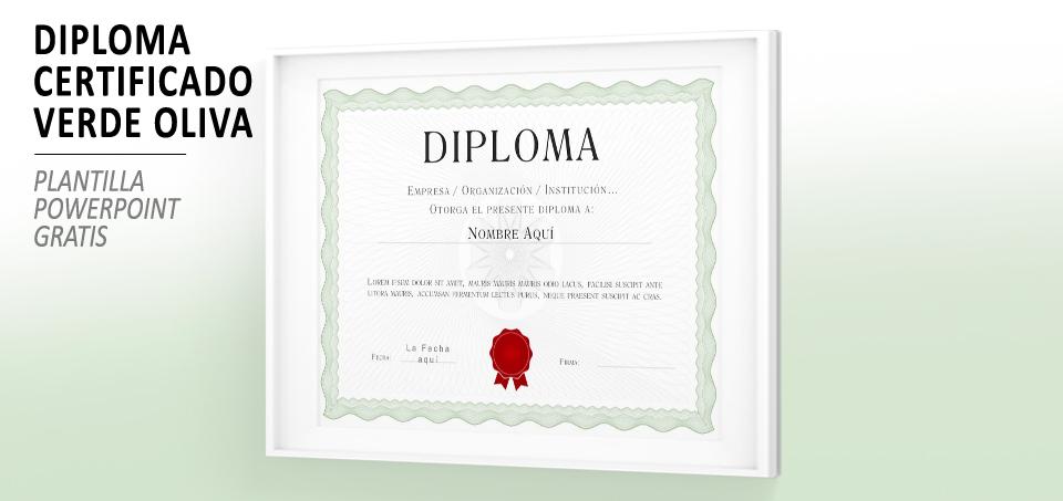 Plantilla PowerPoint Certificado Diploma Verde
