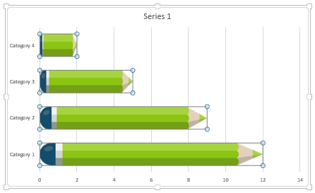 Data-driven PowerPoint charts - Distorted pencil shapes