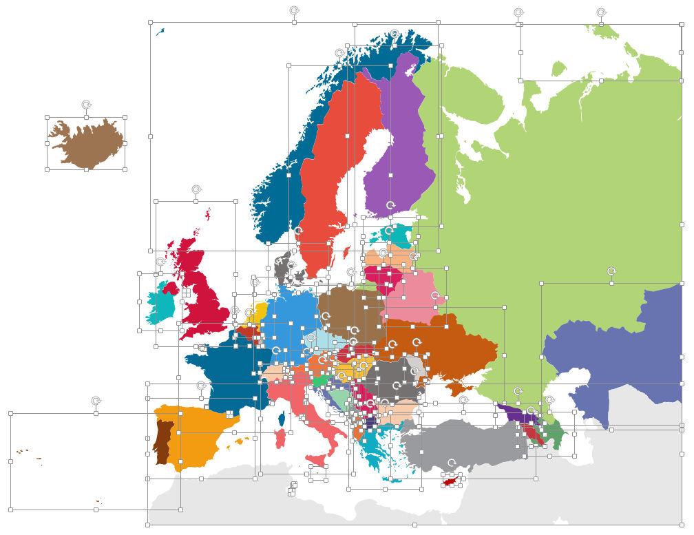 pays de l'Europe sont complétement éditables