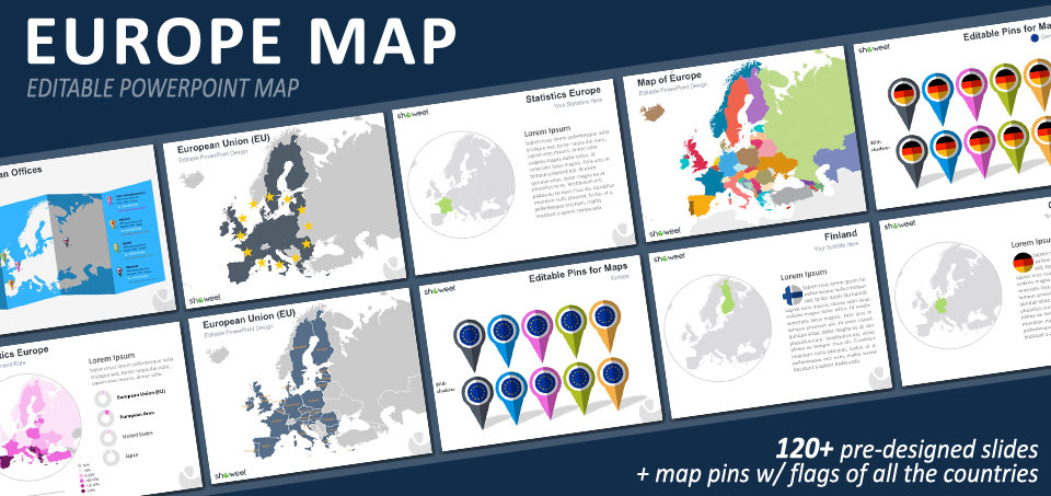europe map powerpoint template, Modern powerpoint