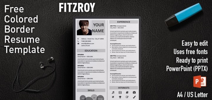 fitzroy free border powerpoint resume template - Powerpoint Resume Template