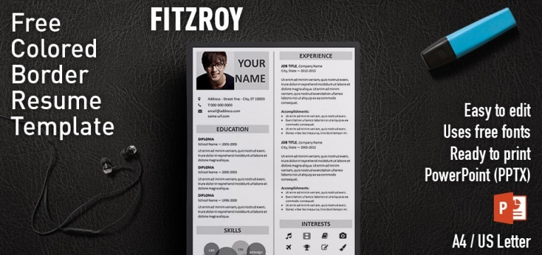 Fitzroy Free Border Powerpoint Resume Template