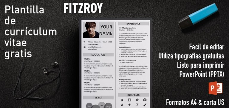 Fitzroy Plantilla Curriculum Vitae PowerPoint