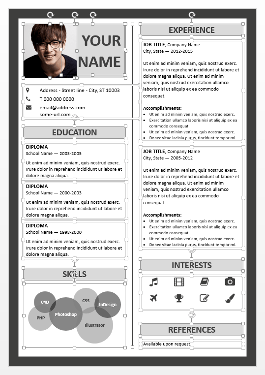 resume powerpoint template fitzroy fully editable powerpoint resume ...