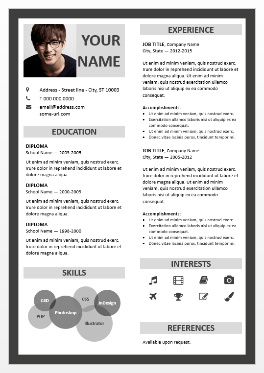 fitzroy border powerpoint resume template, Modern powerpoint