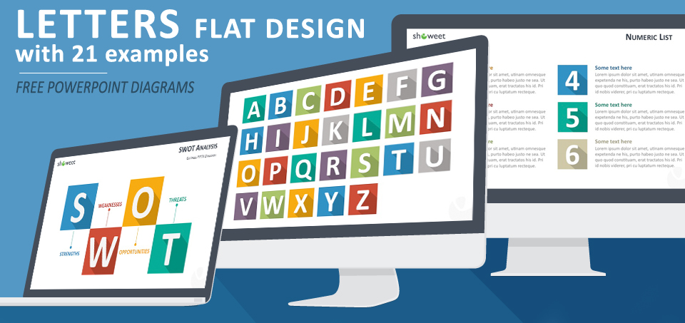 Free flat design icon letters for PowerPoint with beautiful and trendy examples