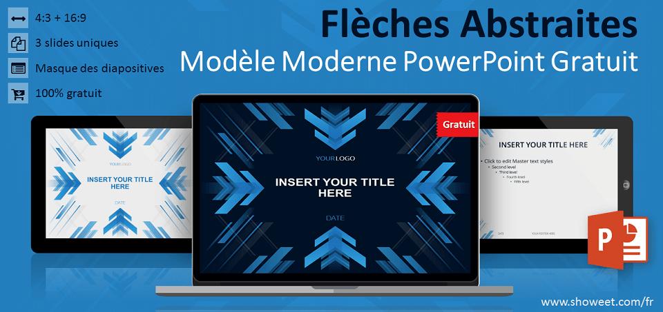 Modèle gratuit pour PowerPoint avec flèches abstraites