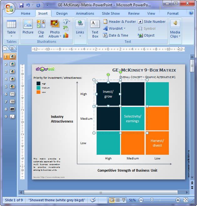 ge/mckinsey matrix for powerpoint, Powerpoint templates