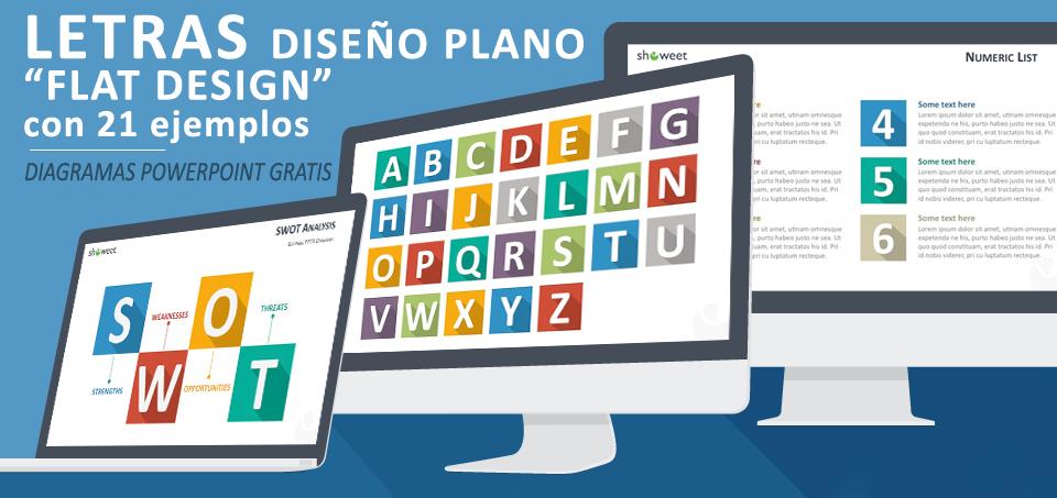Letras gratuitas y coloradas hechas con la técnica de diseño plano (flat design) para PowerPoint y acompañadas de 21 ejemplos de aplicación moderna