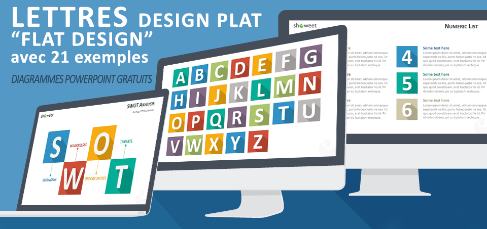 Lettres gratuites au design plat (flat design) et colorées pour PowerPoint accompagnées de 21 exemples d'application modernes