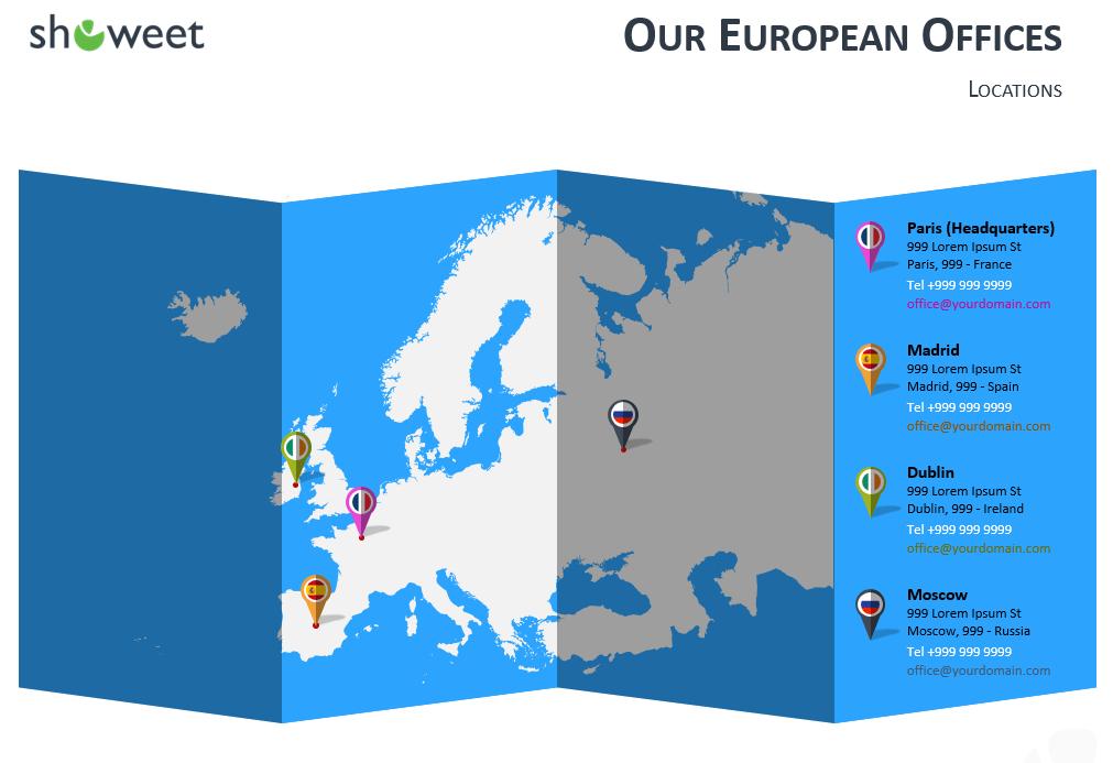 Modèles Carte Europe PowerPoint - Localisation des bureaux